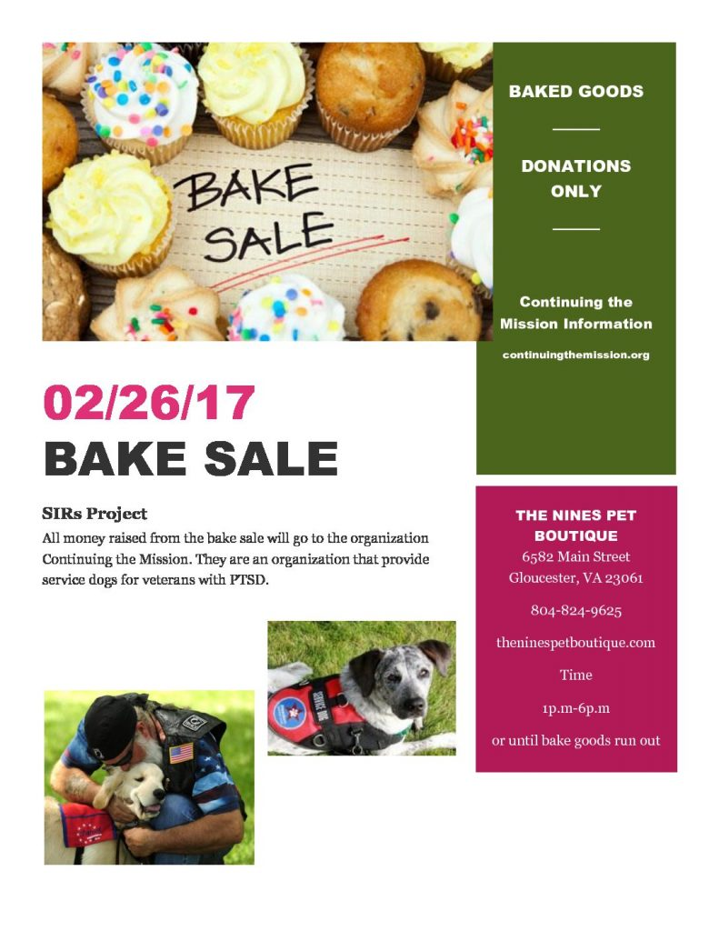 Bake Sale Feb 26 To Benefit Continuing The Mission