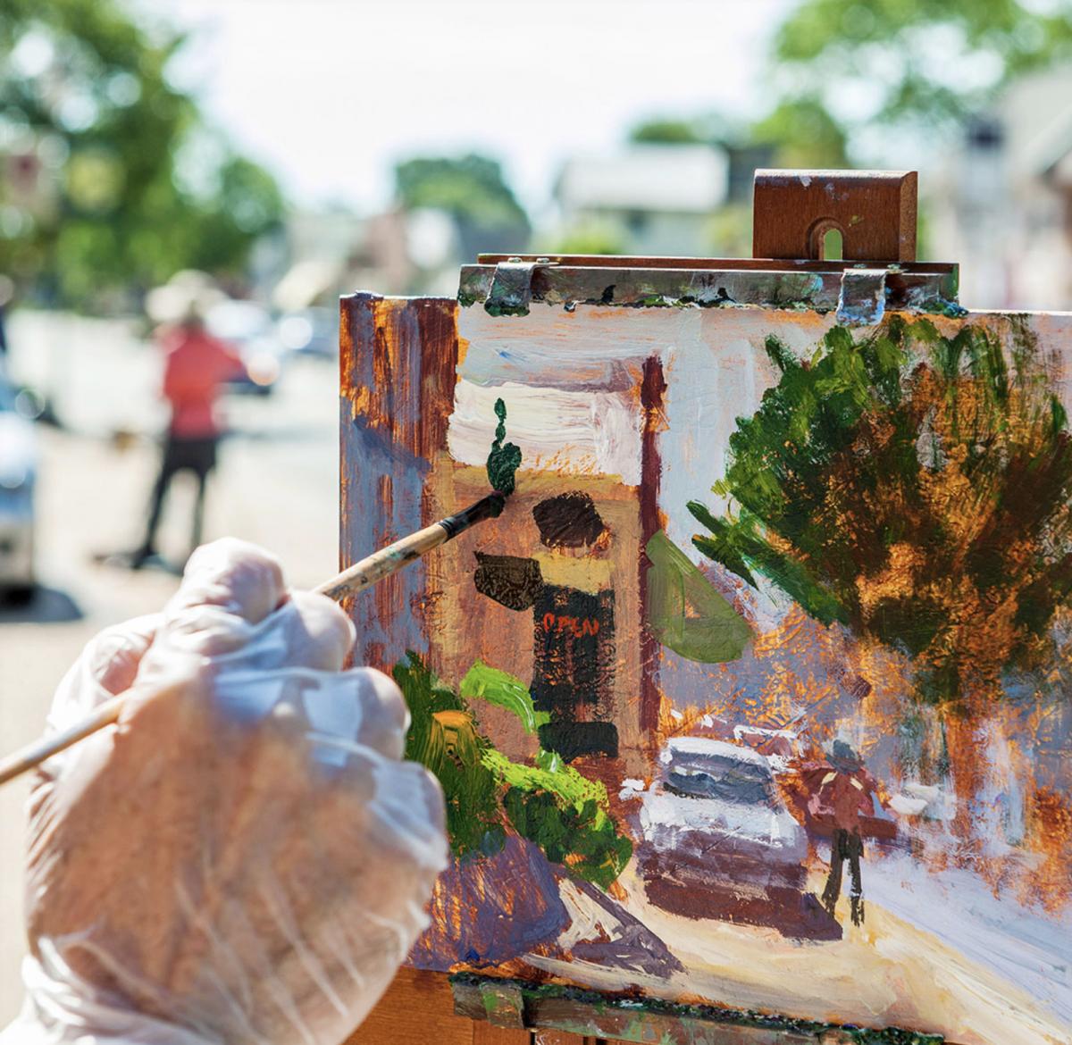 Artist Painting on Main Street Gloucester VA