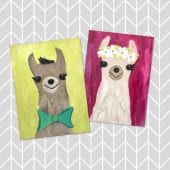 Picture of two kids art canvas' Mr. and Mrs. Alpaca