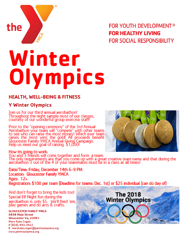 Flyer for YMCA Olympics