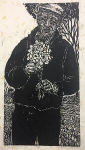 pic of woodcut print by Dennis Winston