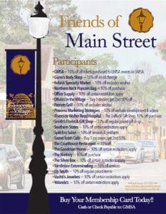 GMSA Friends of Main Street Membership Card Flyer